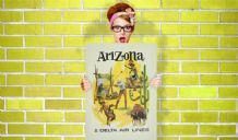 Arizona Delta Air Lines - Decorative Arts Prints & Posters Wall Art Print Poster , Vintage Travel Poster
